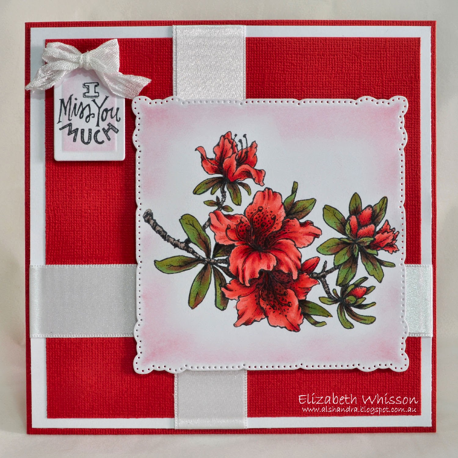 Elizabeth Whisson, Power Poppy, PowerPoppy, handmade card, copics, Azaleas, red and white