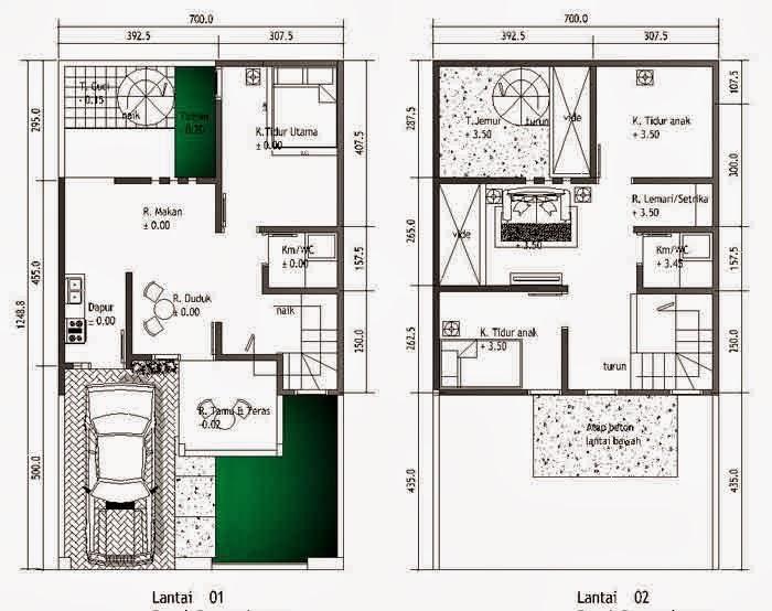 contoh denah rumah minimalis berbagai ukuran blog