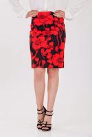 Fusta din bumbac cu imprimeu floral rosu D2126 (Ama Fashion)