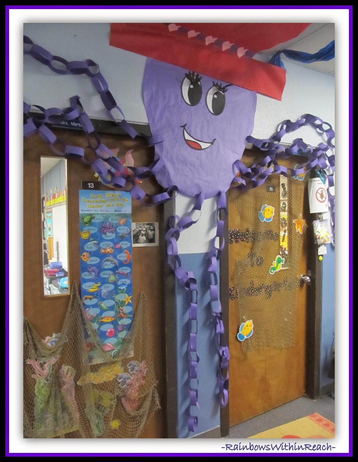 Ocean Octopus Decorated Classroom Door {Ocean RoundUP over 100+ Ideas at RainbowsWithinReach