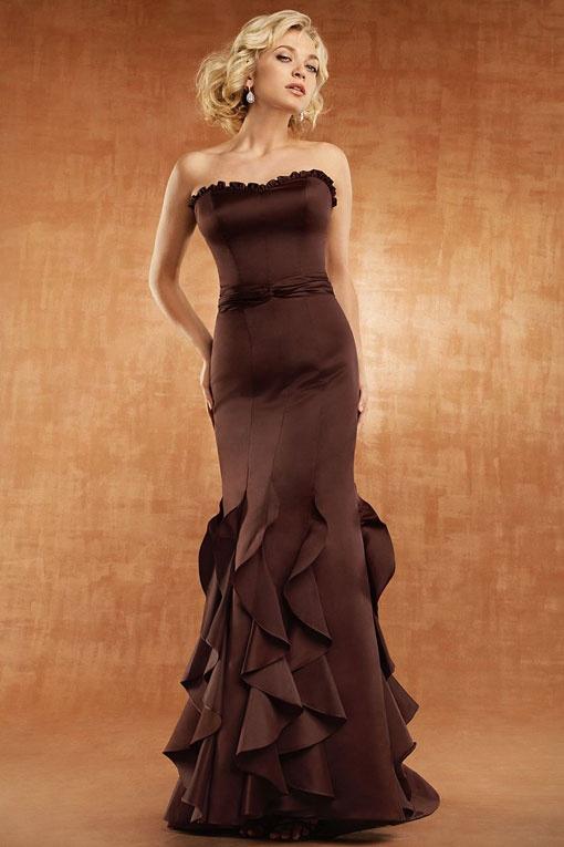 Mermaid style satin bridesmaid dress