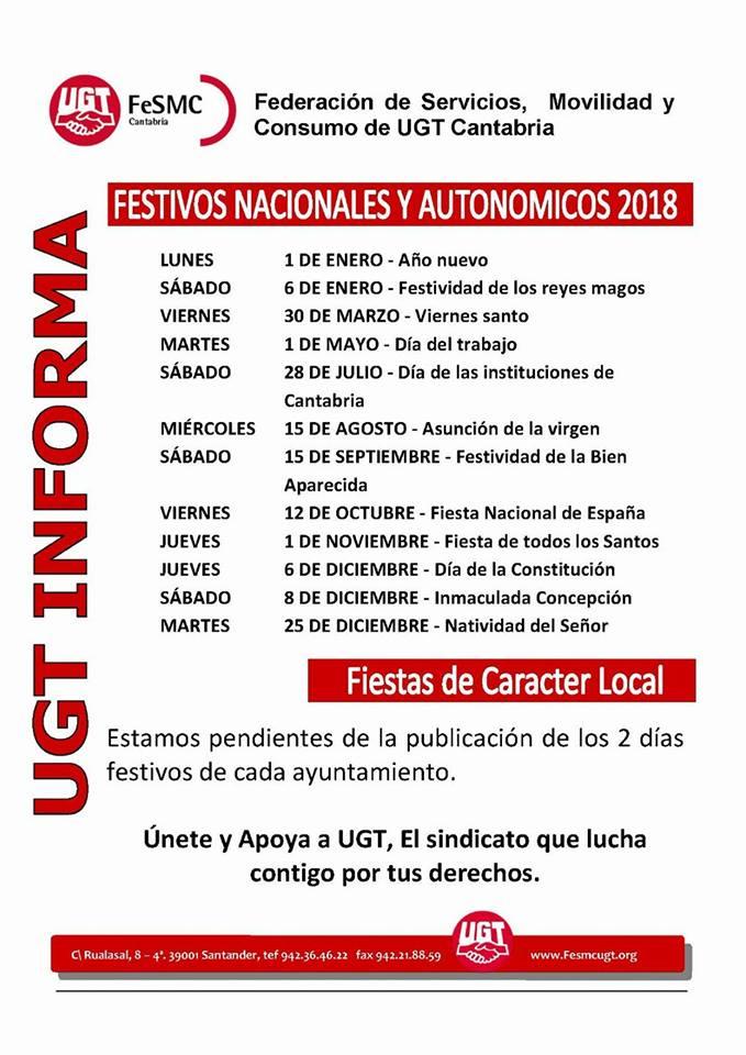 Festivos Nacionales y Autonómicos 2018