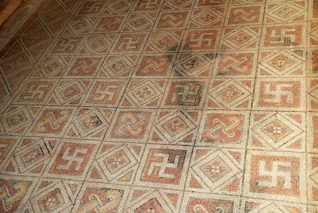 antico mosaico romano nella Villa La Olmeda, Pedrosa de la Vega (Palencia),  Spagna