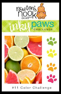 Inky Paws Challenge #11 - Citrus Color Challenge - Newton's Nook Designs