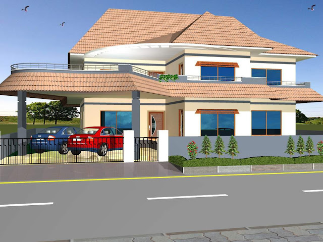 3D House Front Elevation