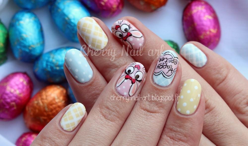 nail art lapin de paques pastel