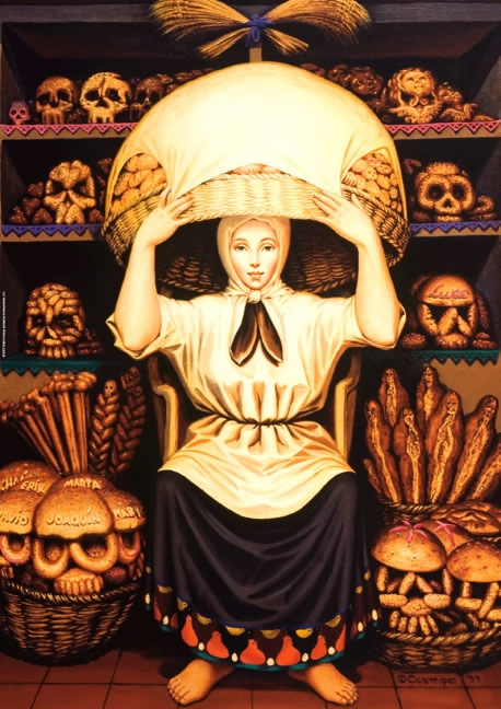 Octavio Ocampo: Pan nuestro (Skull bakery)