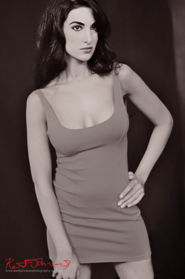 Body Con dress for Fashion Modelling Portfolio; B&W Mid shot. Photographed by Kent Johnson.