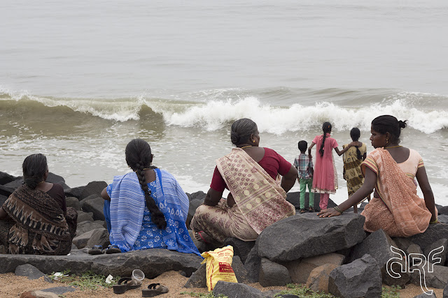 women on beach of Pondicherry
