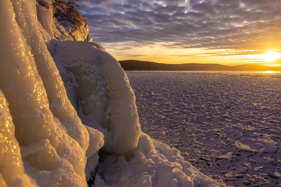 По первому льду.