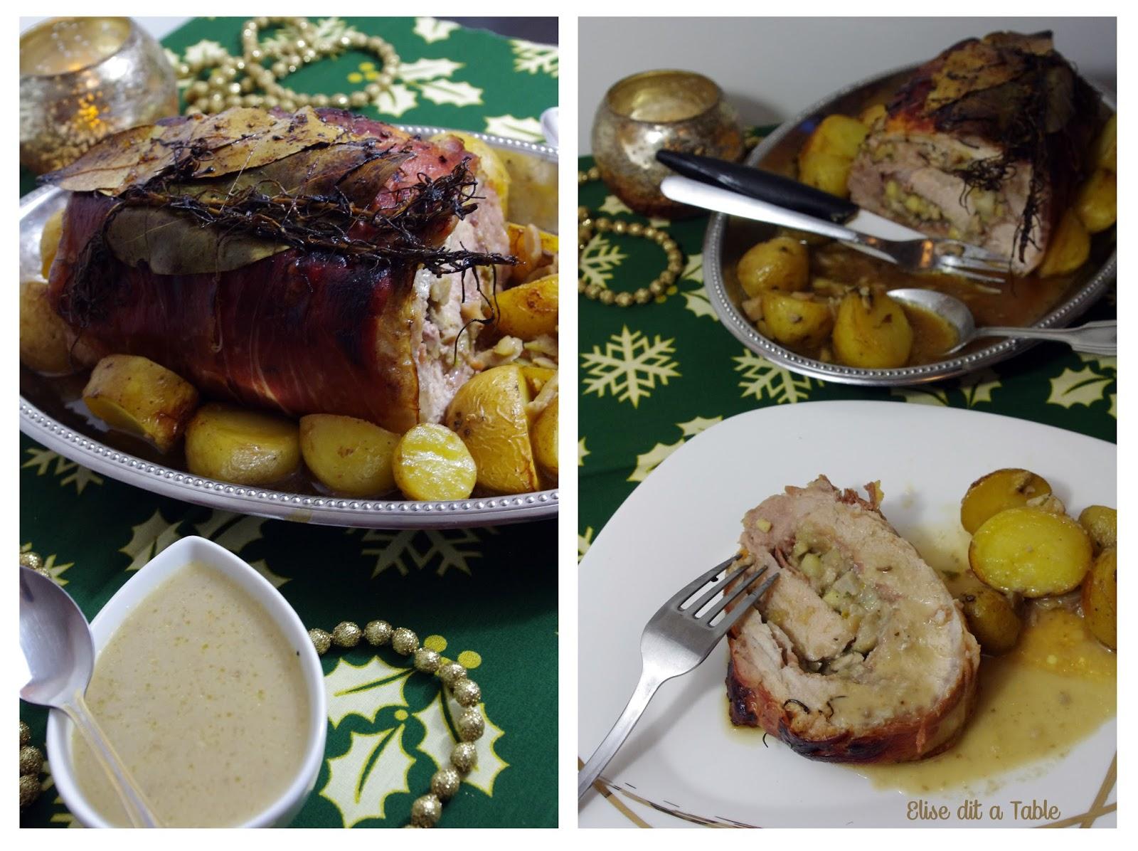 recette Rôti farci aux cèpes marrons et pommes, sauce gourmet aux cèpes