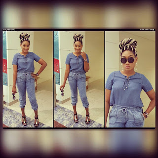Photos: Oge Okoye Stuns in Denim on Denim