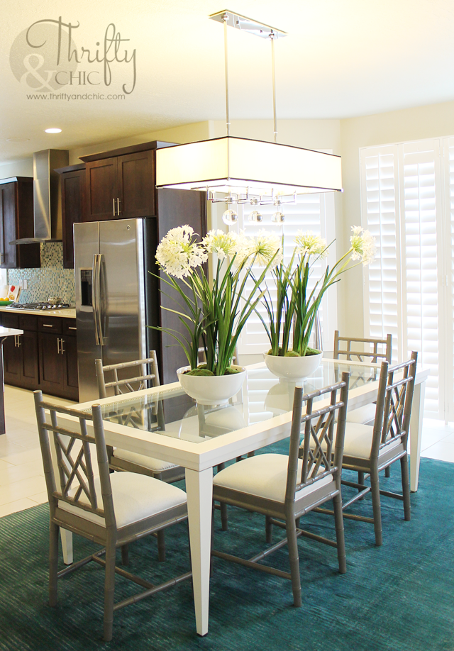 teal and white dining room ideas