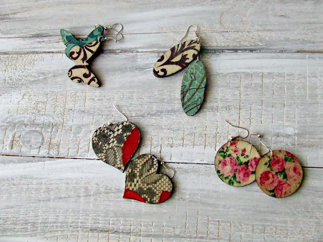decoupage kolczyki DIY biżuteria