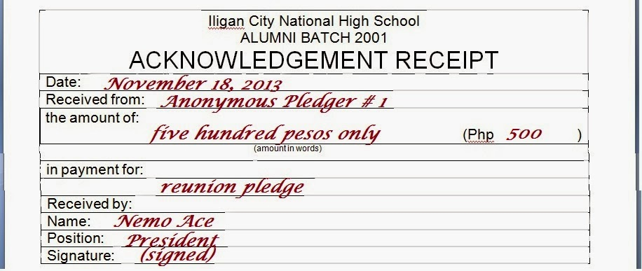 ICNHS Batch 2001 Acknowledgement Receipt for Anonymous Pledger 1 – Acknowledgement Receipt