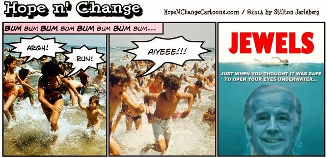 obama, obama jokes, cartoon, political, joe biden, nude, swim, skinny dipping, stilton jarlsberg, hope n' change, hope and change, conservative, jaws, ohio, water