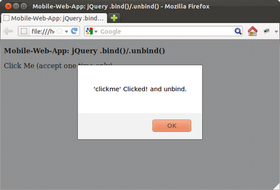 Handle event using .bind() and .unbind() in jQuery
