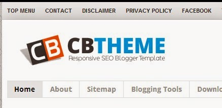 top menu di atas header blog