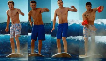 One Direction shirtless in the surfing scene (Kiss You music video)