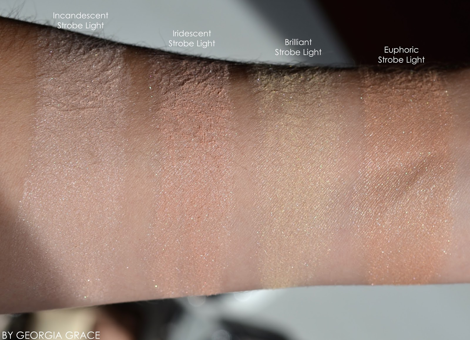 Marvelous Hourglass Ambient Strobe Lighting Powder Highlighters Swatches Review  Incandescent Iridescent Brilliant Euphoric Pictures Gallery