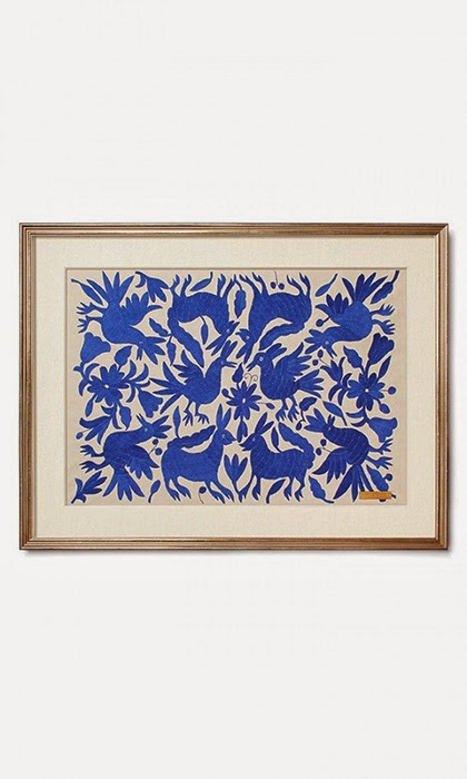 Handmade embroidery art - Blue Interior Trend 2015
