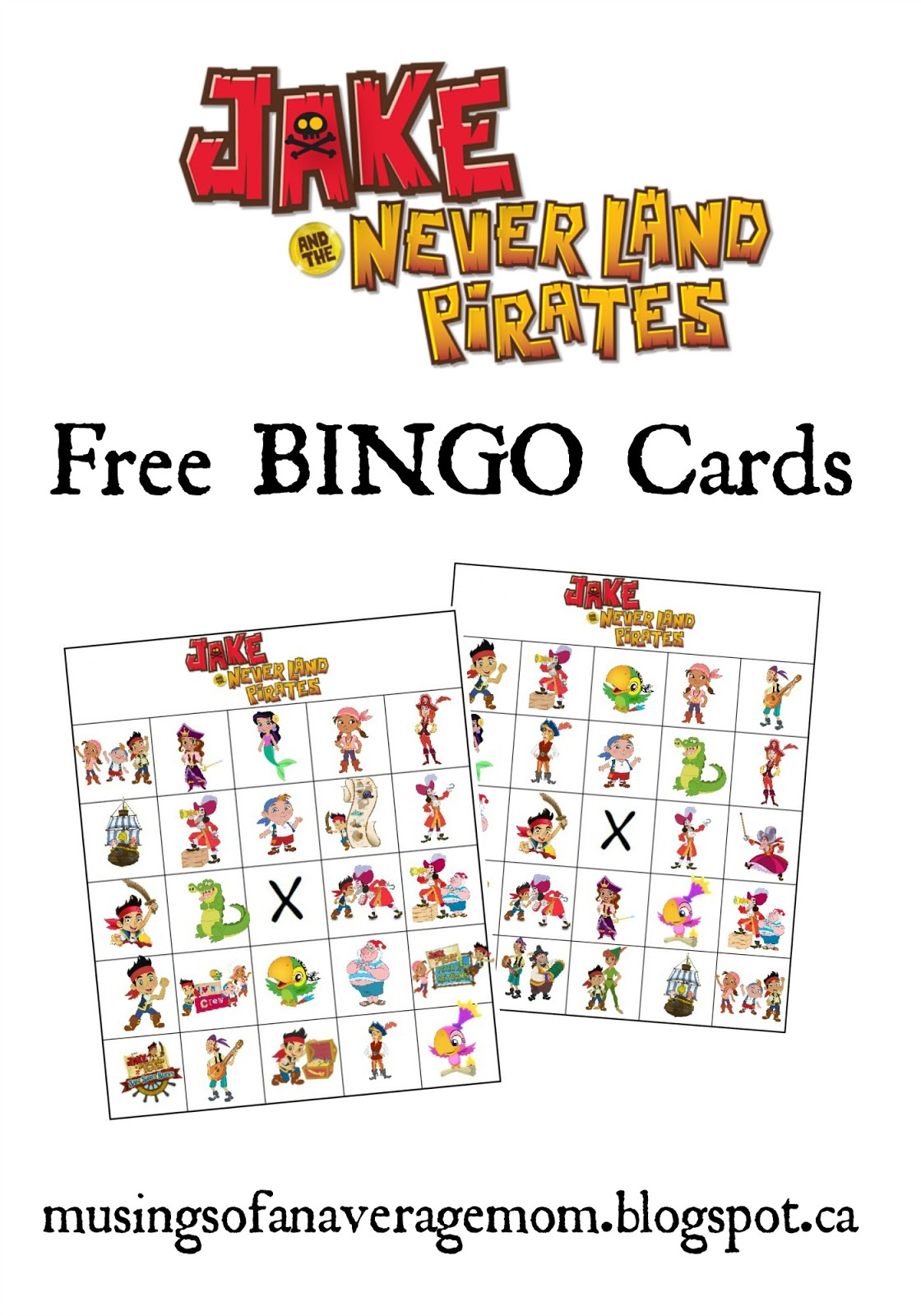 Musings of an Average Mom: Jake and the Neverland Pirates Bingo