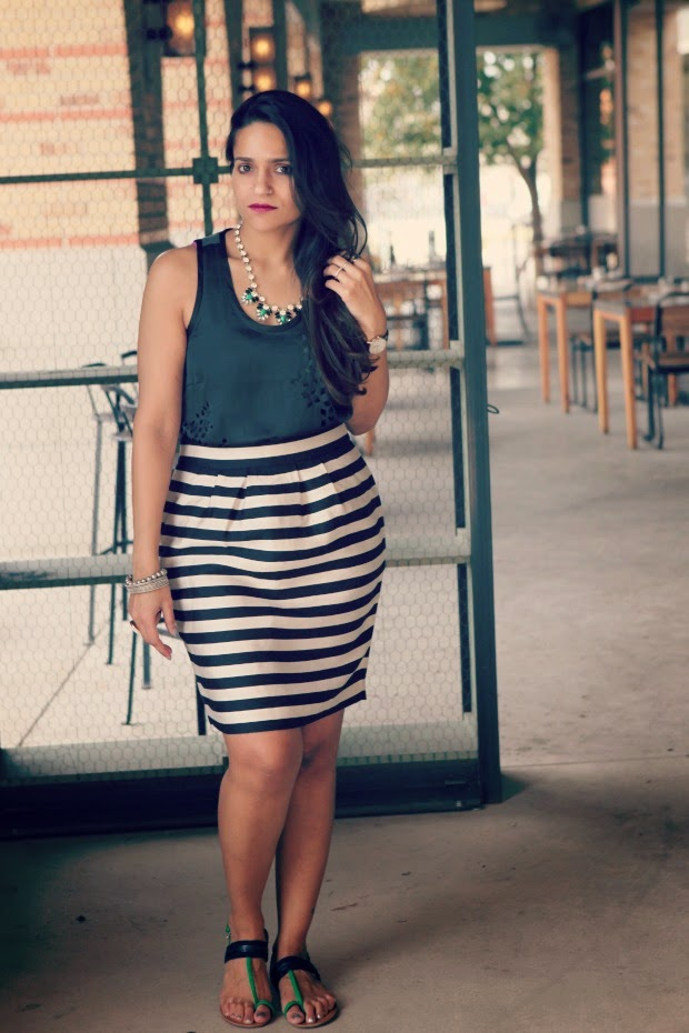 GAP Tank, Banana Republic Skirt, Tommy Hilfiger Flats, Crazy & Co. Necklace, Tanvii.com