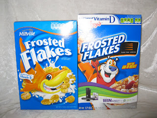 Aldi frosted flakes and Kelloggs frosted flakes