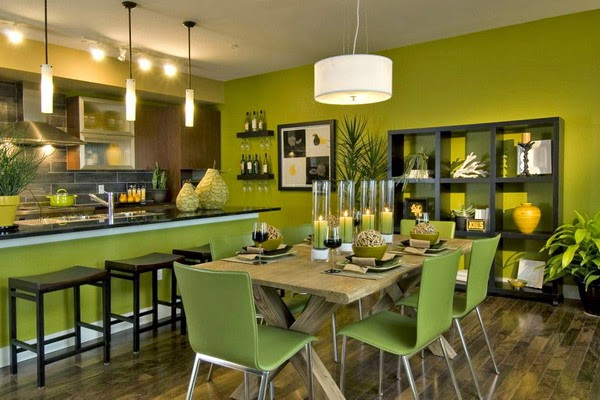 desain ruang makan warna hijau