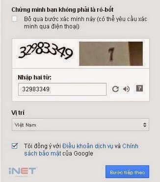 Điền Captcha Gmail