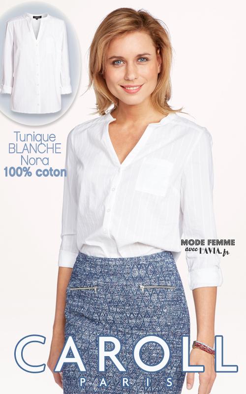 Tunique blanche en coton Caroll