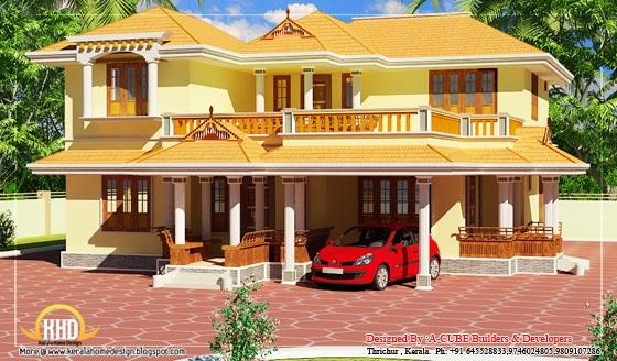 Kerala style duplex house 2550 sq ft kerala home for Duplex house models kerala