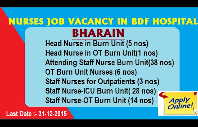 Nurses JOB Vacancy: E-RECRUITMENT NURSES IN BDF HOSPITAL BAHRAIN