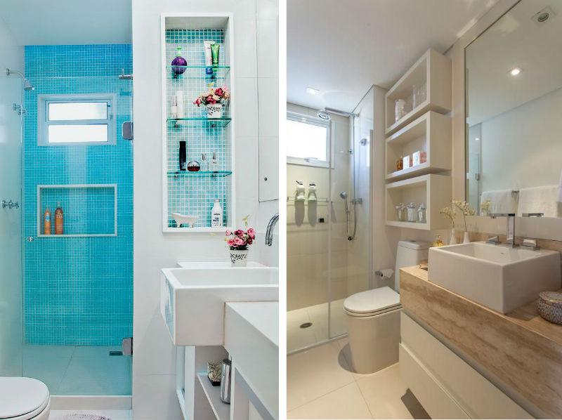 Modatrade  Nichos no banheiro -> Banheiro Pequeno Com Nicho No Box
