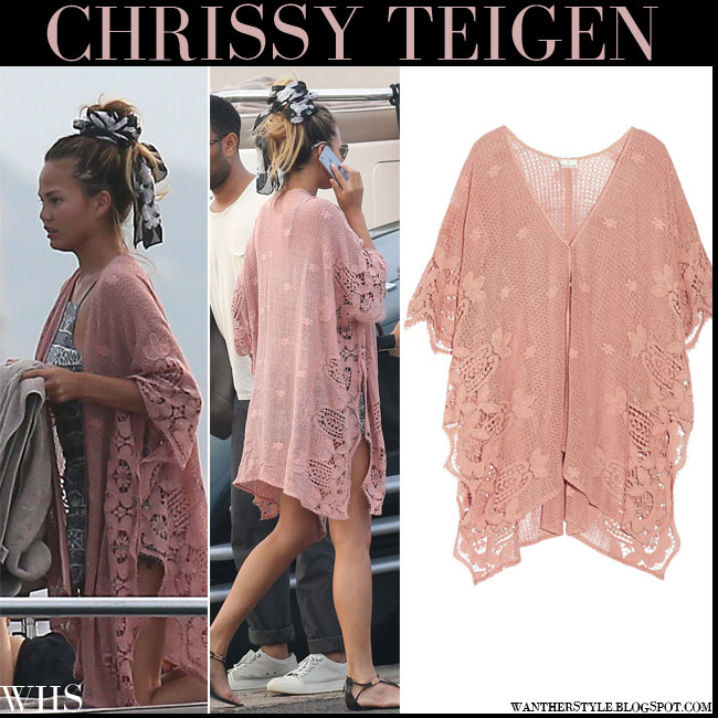 Chrissy Teigen in rose pink crocheted Miguelina caftan beach cover up in Saint Tropez july 21 what she wore summer beach