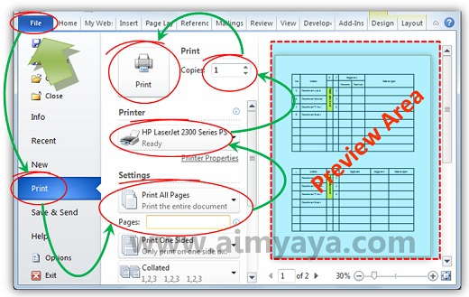 Gambar: Dasar-dasar mengeprint dokumen di microsoft word 2010