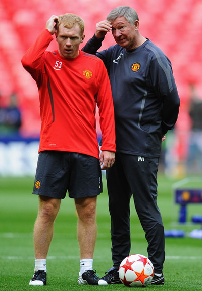 Sir Alex Ferguson+Paul Scholes Man Utd Trainning