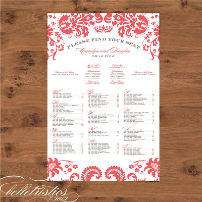 damask diy printable reception seating chart design