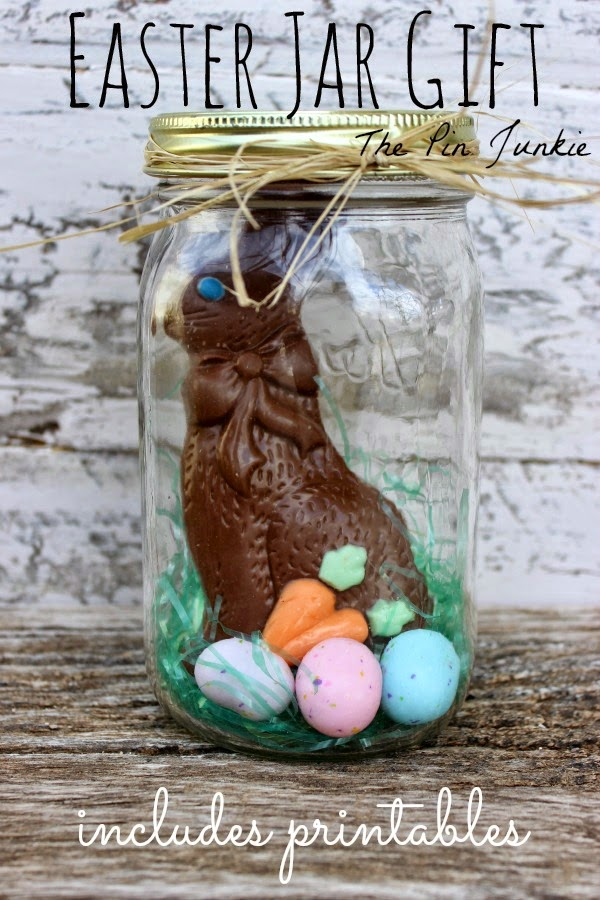 easter mason jar gift with printable tags