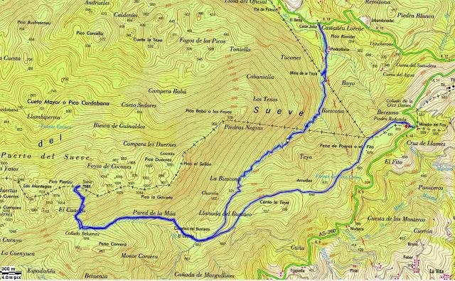 Mapa topográficoRuta Pico Pienzu por Hayedo de la Biescona - Asturias