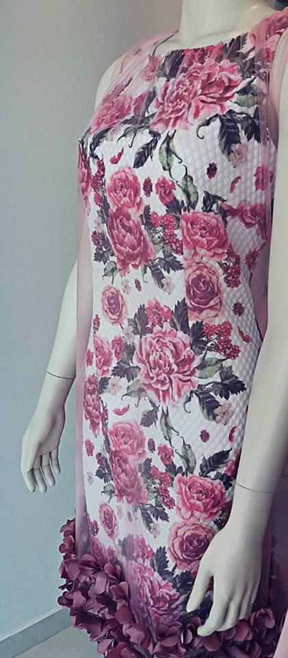 Floral φορεμα με τουλι βραδυνο