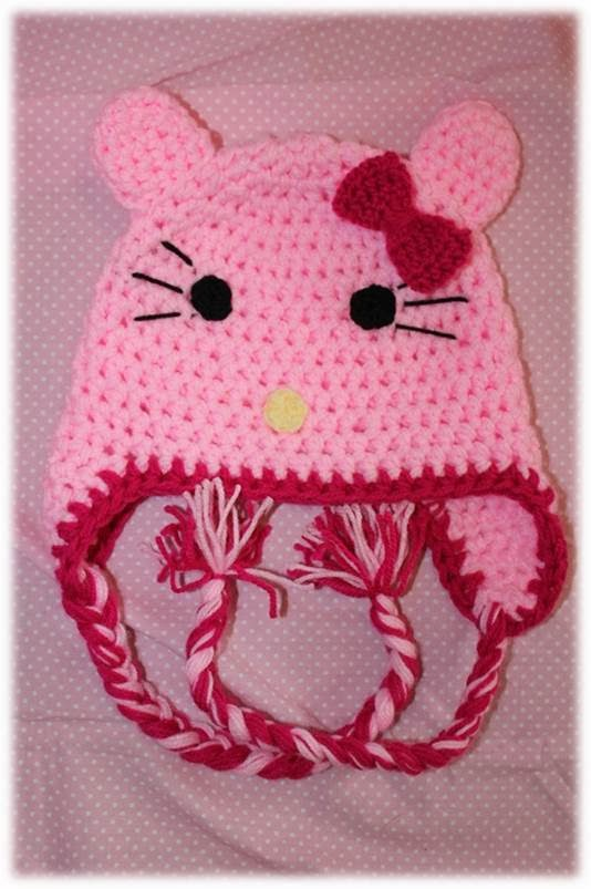Czapeczka Hello Kitty na szydełku