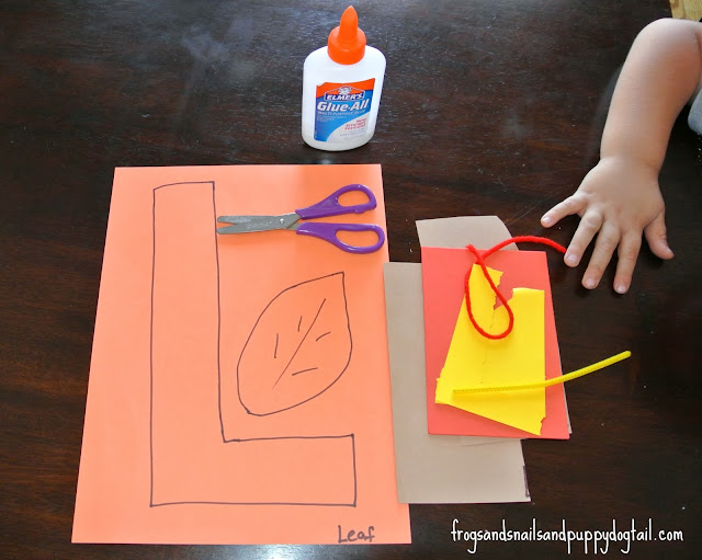L is for Leaf scissor skills craft
