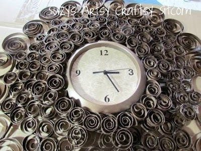 recycled toilet paper tubes faux brass wall clock10