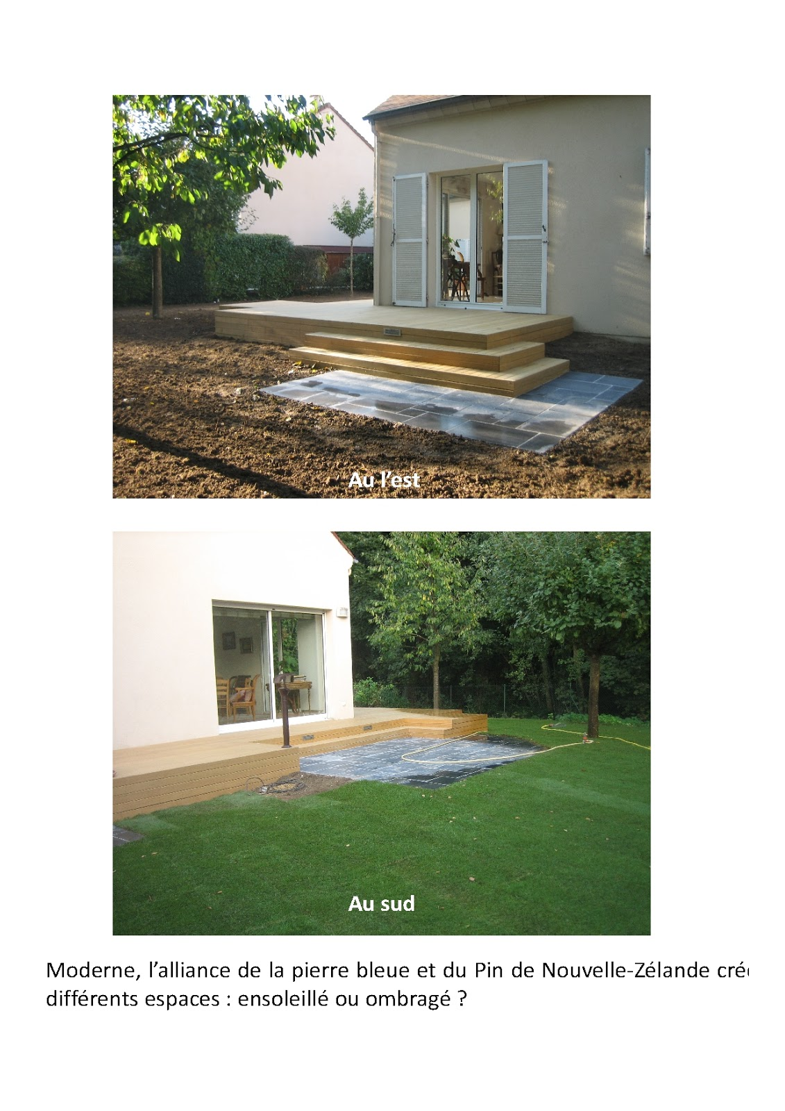 Terrasse Pierres Bleues Et Bois Exotique Paysagiste Val D 39 Oise Cr Ation Jardin 95