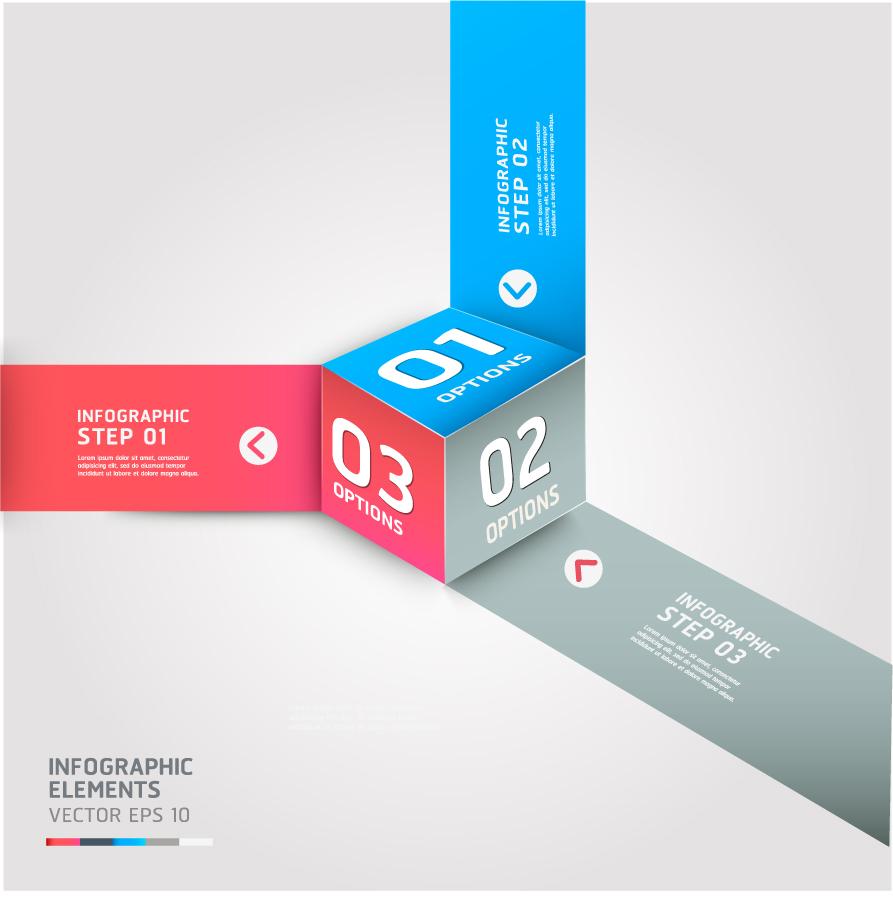 立方体バナーのインフォグラフィックス テンプレート cube Infographics banner template イラスト素材