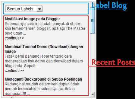 Penggabungan Label Blog dengan Recent Posts