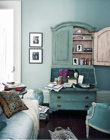Salón vintage azul