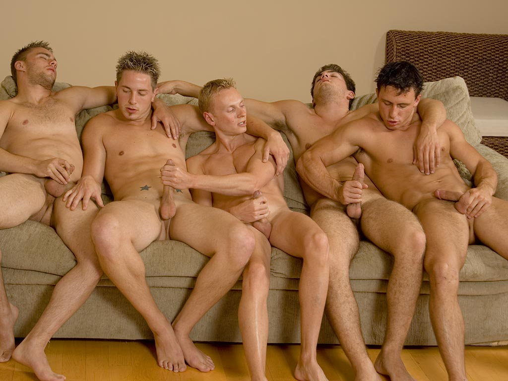 Naked men mutual masturbation