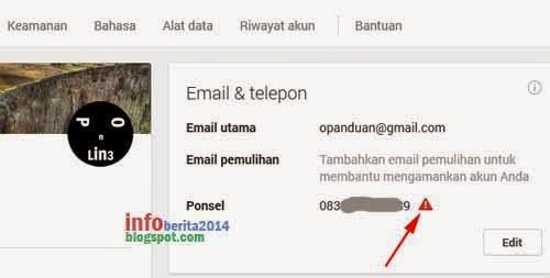 cara verifikasi nomor hp akun google